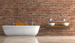 Wohndesign - Bad mit Klinkerwand